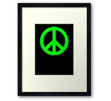 Bright Green Peace Sign Symbol Framed Print