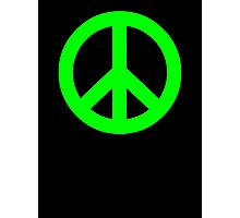 Bright Green Peace Sign Symbol Photographic Print