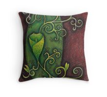 Green flower texture illustration painted handmade pencil Throw Pillow