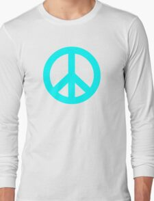 Cyan Peace Sign Symbol Long Sleeve T-Shirt