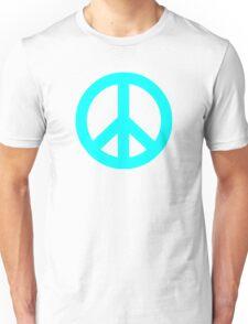 Cyan Peace Sign Symbol Unisex T-Shirt