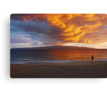 Lone Surfer At Sunset Canvas Print