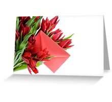 Red envelope in bouquet  Greeting Card