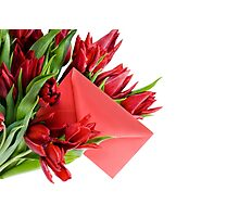 Red envelope in bouquet  Photographic Print