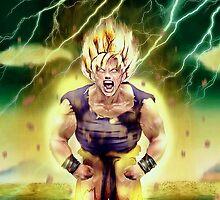Goku goes super Saiyan by Shibuz4