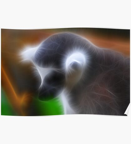 Lemur Thinking Poster