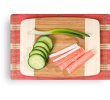 Crab sticks of surimi and cucumber  Canvas Print