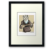 A Singing Cat Playing Samisen Framed Print