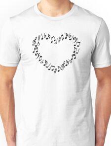 Music Notes Heart Unisex T-Shirt