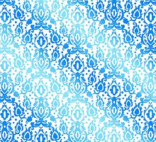 Moroccan Blue Ocean Damask by AntiqueImages