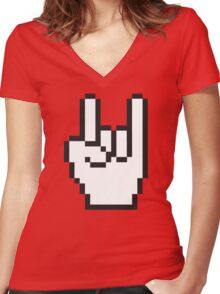 8 Bit Head Banger Symbol Women's Fitted V-Neck T-Shirt