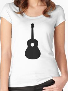 Black Acoustic Guitar Women's Fitted Scoop T-Shirt
