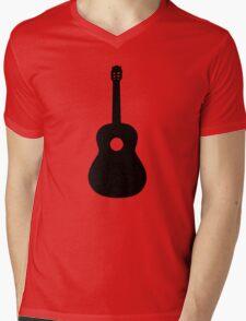 Black Acoustic Guitar Mens V-Neck T-Shirt