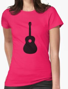 Black Acoustic Guitar Womens Fitted T-Shirt