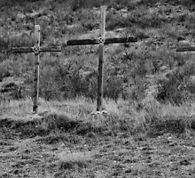 Three Wooden Crosses by Jen Millard