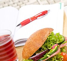 Sandwich with vegetables and juice  by Arletta Cwalina