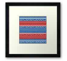 Red and Blue Christmas Sweater Reindeer Framed Print