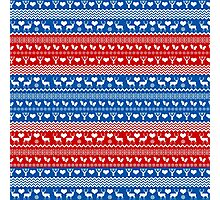 Red and Blue Christmas Sweater Reindeer Photographic Print