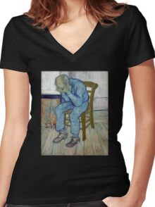 'At Eternity's Gate' by Vincent Van Gogh (Reproduction) Women's Fitted V-Neck T-Shirt