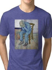 'At Eternity's Gate' by Vincent Van Gogh (Reproduction) Tri-blend T-Shirt