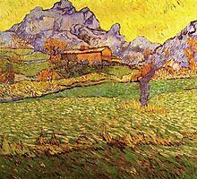 'A Meadow in the Mountains Le Mas de Saint Paul' by Vincent Van Gogh (Reproduction) by Roz Abellera Art Gallery