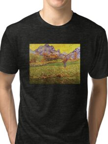 'A Meadow in the Mountains Le Mas de Saint Paul' by Vincent Van Gogh (Reproduction) Tri-blend T-Shirt