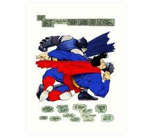 Batman punches Superman Art Print
