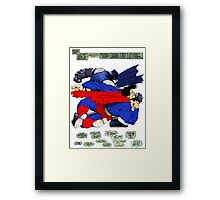 Batman punches Superman Framed Print