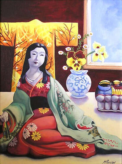 still life & japanese doll by maria paterson