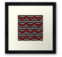 Black White Red Chevrons Framed Print