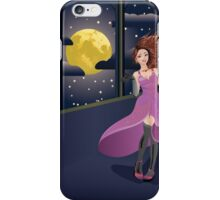 Girl in Purple Dress on Balcony iPhone Case/Skin