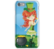 Leprechaun Girl on Grass Field iPhone Case/Skin