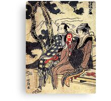 'Traveling Couple' by Katsushika Hokusai (Reproduction) Canvas Print