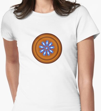 FLOWER BUTTON Womens Fitted T-Shirt