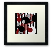 Black White Red Stripes Dots Framed Print