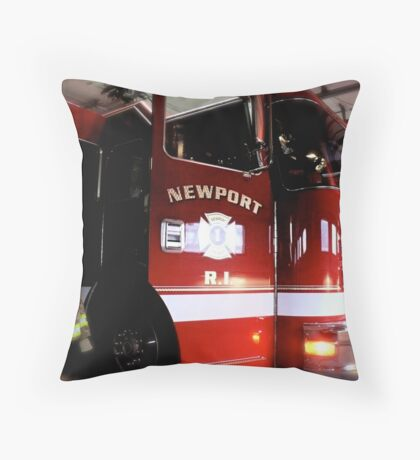 State of the Art Fire Engine in the Newport Fire Station Throw Pillow