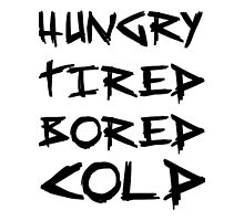 HUNGRY TIRED COLD BORED - LAZY Photographic Print