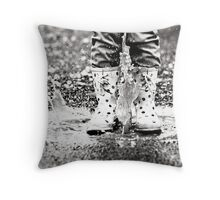 Puddle Jumping BW Throw Pillow