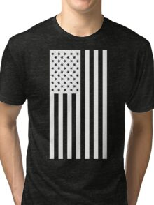 US Flag - Black & White Tri-blend T-Shirt