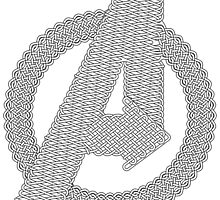 Celtic Avengers A logo, Black Outline, no Fill by Adamasage