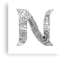 Patterned Letter N Canvas Print