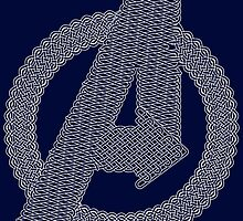 Celtic Avengers A logo, White Outline, no Fill by Adamasage