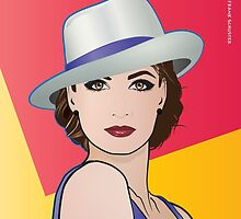 Pop Art Illustration of Girl  Ingrid by Frank Schuster