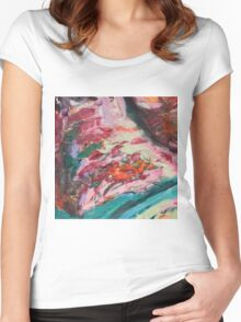 Acrylic Lime and Orange Women's Fitted Scoop T-Shirt