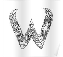 Patterned Letter W Poster