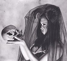 Realism Charcoal Drawing of Sexy Dark Queen in Veil with Skull by brittnideweese