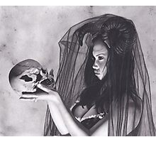 Realism Charcoal Drawing of Sexy Dark Queen in Veil with Skull Photographic Print