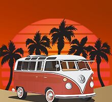 21 Window VW Bus Red Surfboard in Desert by Frank Schuster