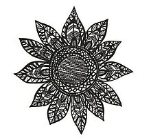 Sunflower Tribal Drawing by Olesya-Christy