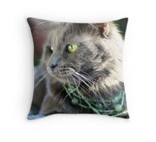 Green-eyed Beauty Throw Pillow